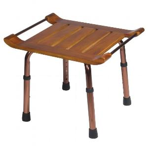 Teak Adjustable-Height Shower Bench