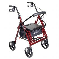 Drive Medical Duet Transport Chair and Rollator Rolling Walkers W/Handbrakes
