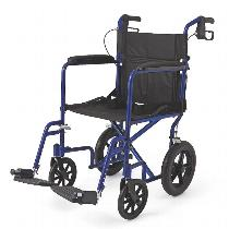 "Medline Deluxe with 12"" Rear Wheels Lightweight Transport Wheelchair"