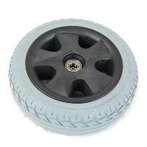 """10"""" Gray Flat-Free Front Wheel Assembly for Leo 3-Wheel Scooters"""