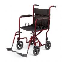 "Medline Aluminum Transport Chair with 8"" Wheels Lightweight Transport Wheelchair"