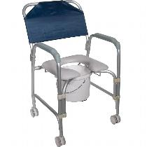 Drive Medical Aluminum Shower Chair and Commode with Casters Rehab Shower Commode Chair
