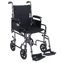 Drive Medical Steel Transport Chair with Removable Arms Transport Chairs with Removable Armrests