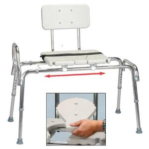 Eagle Health Snap-N-Save Classic Sliding Transfer Bench with Replaceable Cut Out Seat Transfer Bench