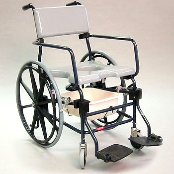 "Rehab Shower Commode Chair - 24"" Wheels"