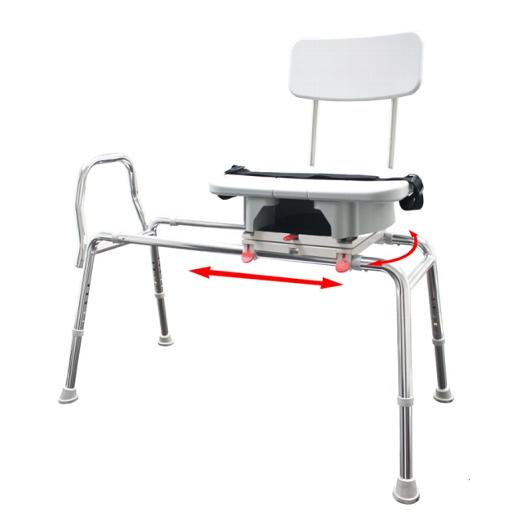 Sliding Transfer Bench with Replaceable Cut Out Swivel Seat
