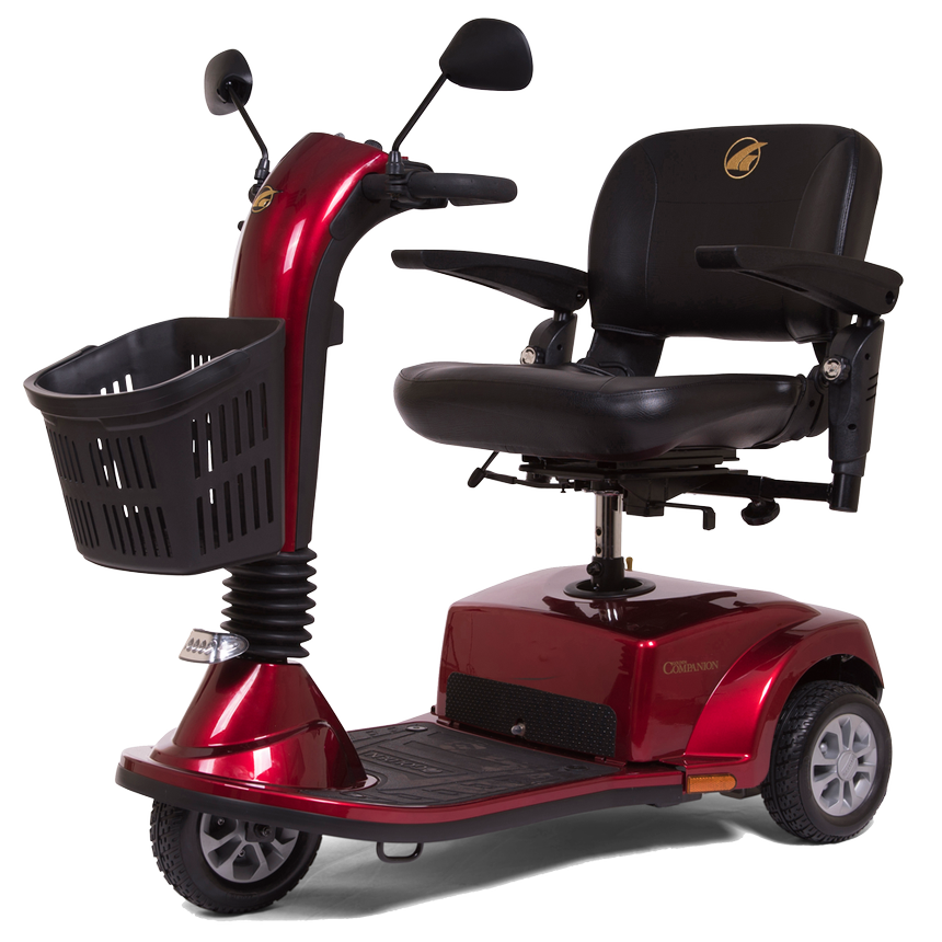 this scooter has a 360� rotating seat, and a wide deck for lots of legroom